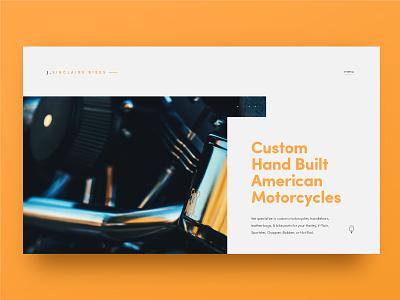 Jeremy Sinclair Custom Motorcycles minimal clean motorcycle design ux ui homepage website
