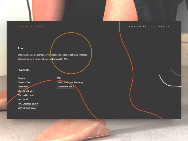 A Bronze Age — About canada pattern website ux ui minimal about fashion design clean