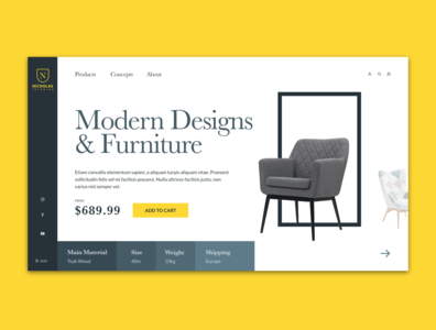Interior website UI concept grey interiors website design ui website