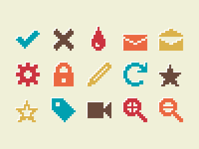 Pixelified (week 2): 15 Free icons freebie font svg pixel icons icon pack icon set icons pixelated pixelart 8bit retro pixels