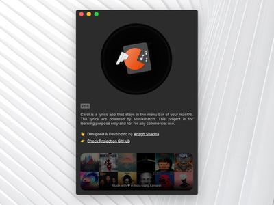 Carol - About screen mac macos menu bar music lyrics blur dark ui mac app about screen window about real project