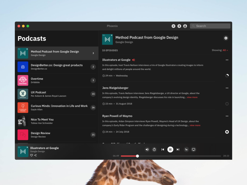 Podcast App - macOS macos app blur acrylic windows apple framer x framer mojave dark theme dark podcast mac app mac os