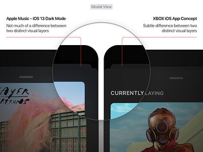 iOS 13 Dark Mode Improvements xbox modal mobile app iphone dark ui dark mode ios