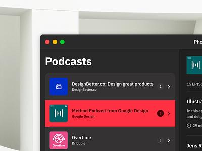 Podcast App - macOS app apple accessibility contrast windows podcast macos mac dark mode dark theme dark blur acrylic