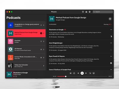 Podcast App - macOS accessibility contrast player music podcast vibrant sf symbols line icons acryclic windows mac macos ios dark mode dark theme dark blur