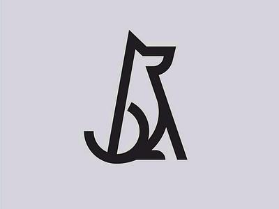 Minimal Dog figure. dog husky pet logo minimal