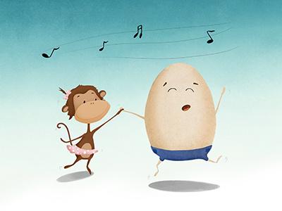 Party On! fun party fairy tale children illustration dance egg monkey illustrator photoshop digital illustration illustration art