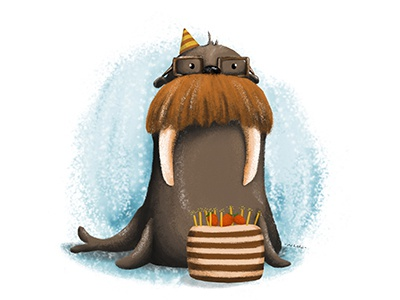 Happy birthday drawing walrus hipster digital illustration digital art painting illustration art