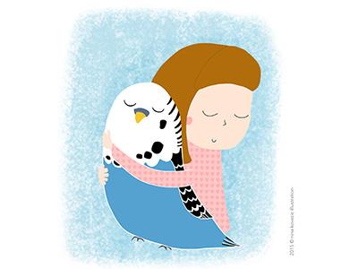 Vojka and her parrot hug pet love cute parrot girl digital art digital illustration illustration art