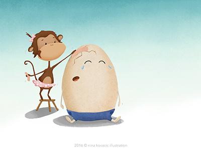Taking care children illustration patch love egg monkey textures digital illustration illustration art