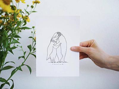 Together together sweet nina kovacic cute love hug penguins penguin ink drawing illustration art