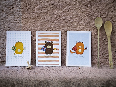 Birthday Cards illustrator children illustration celebration birthday card birthday fox cat bear painting drawing illustration art