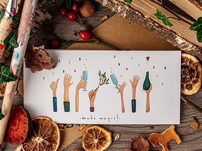 Make magic! hand family love christmas holidays holiday cards holiday card holiday greeting card mistletoe christmas cards christmas card