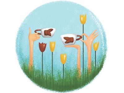 Traveler's horoscope illustration hands tulips tulip netherlands amsterdam cancer traveller travelling zodiac sign zodiac sign horoscope