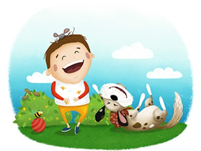 Happiness mouse turtle bee digital illustration childrens book happiness smile laughter dog boy children illustration illustration