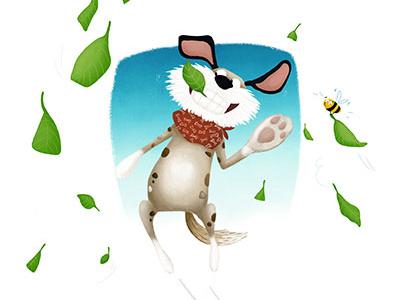 Fooling around playful playing nina kovacic dog illustration fun leaves bee dog childrens book illustration childrens book children illustration illustration