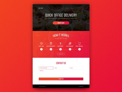 Office Food Delivery Website one page bright colourful red website delivery food office