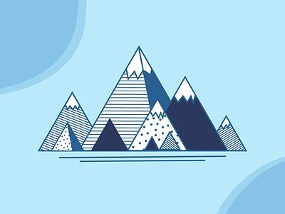Geometric Mountainscape flat vector design illustration