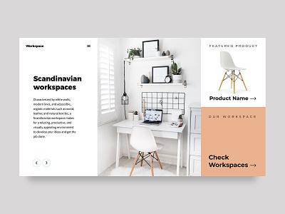 Scandinavian workspaces uidesign website design figmadesign minimal web design webdesign