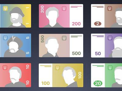 Ukrainian hryvnia in flat design 50 10 500 100 200 free sketch ukraine money hryvnia flat cash