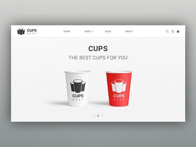 Page for cups shop minimal cup cups minimalism flat design web page web site web design web