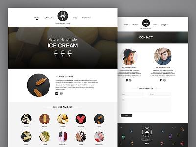 Ice Cream web site concept ice cream minimal flat design web page web site web design web
