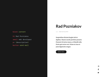 Personal Page Concept develop web pug html page personal cv code