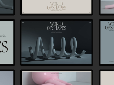 World of Shapes Grid Animation layout typography promo interface cinema4d video website web ux ui