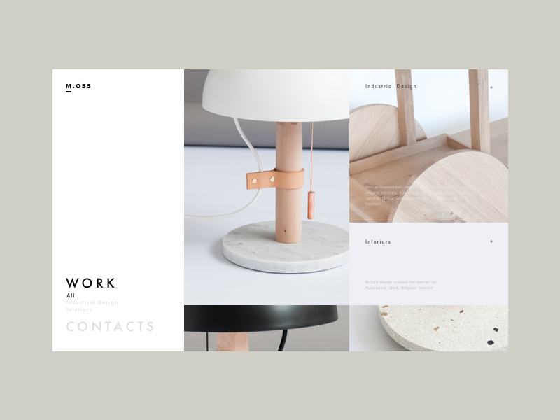 Moss design work page products grid portfoilo design ux ui image preview workpage web website