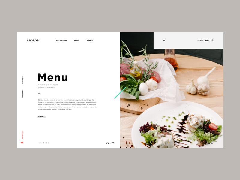 Canape menu page web website grid design menu interface ux ui canape