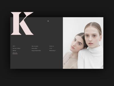 Kate 1/2 menu website web portfolio interface photography popup menu ux ui grid