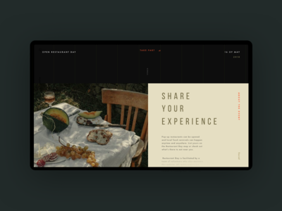 Open Restaurant Day Event Website Concept cafe day hobby promo website concept restaurant cooking imagery interface ux ui