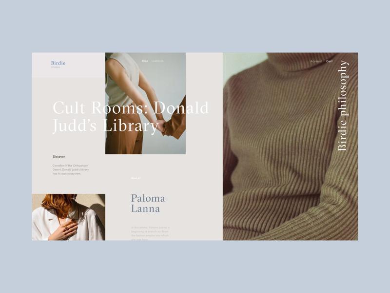 Birdie Fashion Store Blog Page ux ui shop interface grid girls blog fashion e-commerce concept categories article