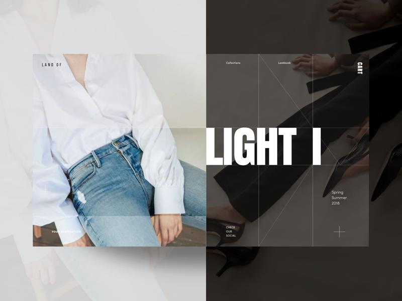 Land Of Fashion Store Homepage Hero Page dark light ux ui homepage clothing website shop store commerce fashion hero