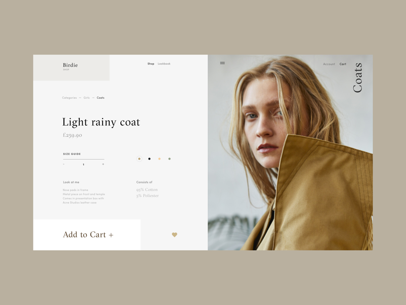 Rainy coat product page