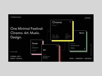 One Minimal Festival Homepage Alternative Version promo ux ui music design art cinema concept black grid homepage festival