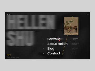 Shu Hellen Photographer Website Open Menu contact blog dot portfolio white blur design web homepage concept interface grid typography black ui ux website photographer photo menu