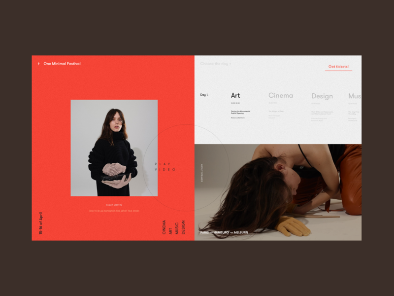 One Minimal Festival Speaker Page interface whitespace creative music cinema art ux ui web design model typography white grid red speaker event festival minimal one