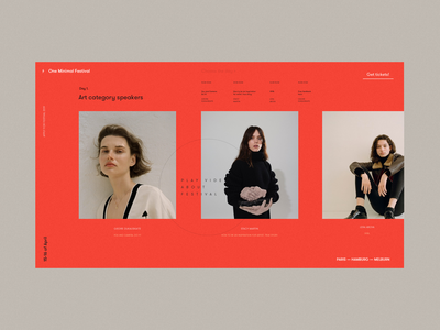 One Minimal Festival All Speakers Page register event tickets red logo typography photos grid minimal one festival speakers ux ui web website music design cinema art