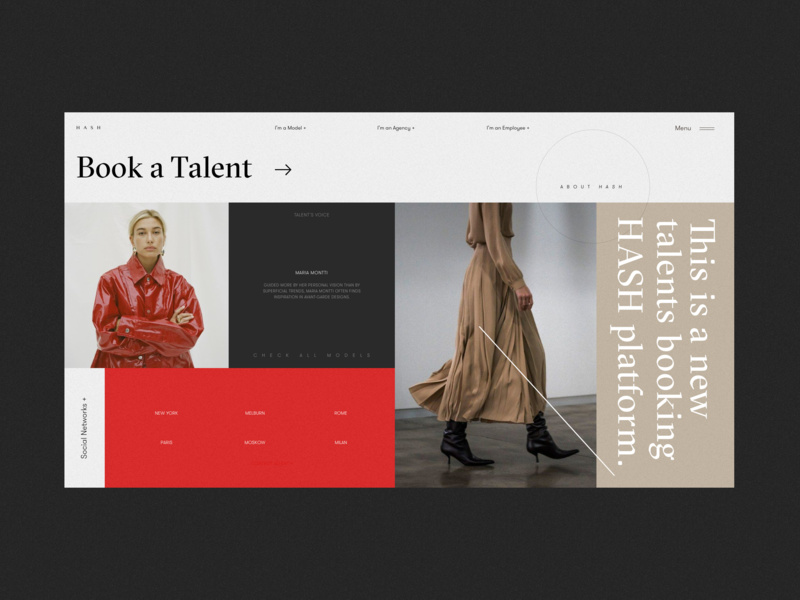 HASH Models Platform Homepage Alternative Version booking platform typogaphy black red typography logo photo design homepage blog fashion website concept interface grid web ux ui model