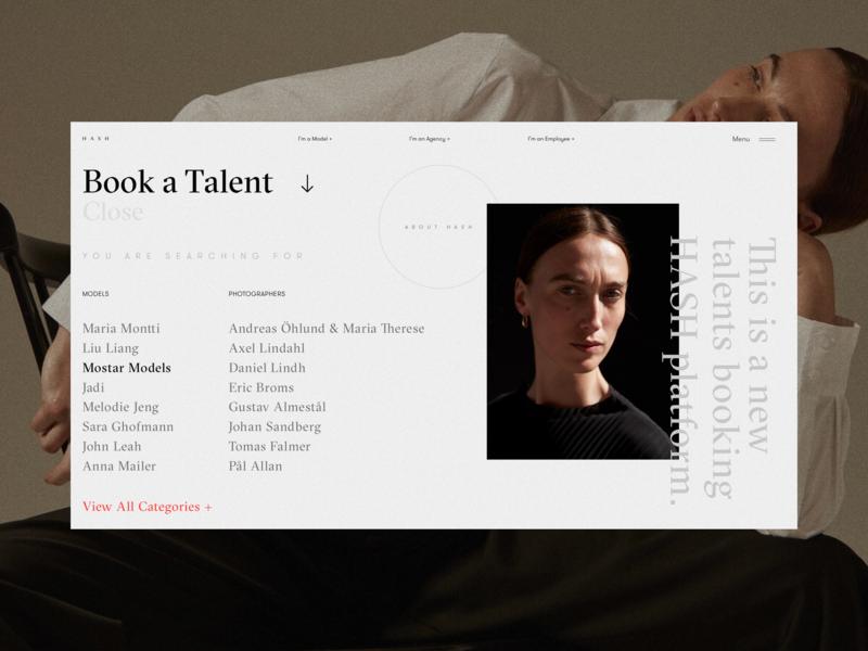HASH Platform Searching Dropdown photographer design creative white selection list ui typography grid fashion talent concept website interface web network model platform booking ux