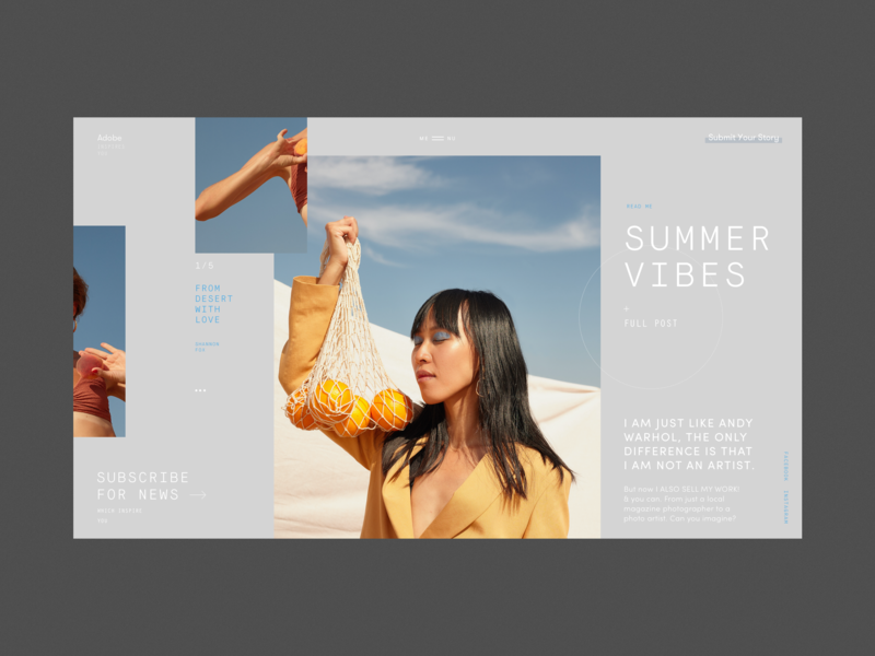 Adobe Inspires You Blog Homepage models sky promo desert summer grid typography photo blog homepage design fashion website concept interface web ux ui adobepartner adobexd