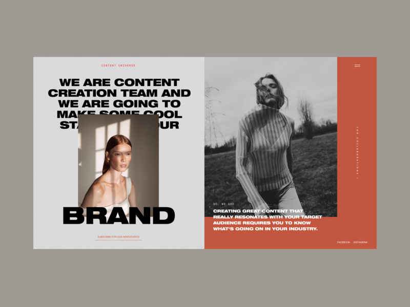 Content Universe Homepage Alternative Version whitespace menu inspiration agency content promo photo models image typography homepage design fashion concept website interface grid web ux ui