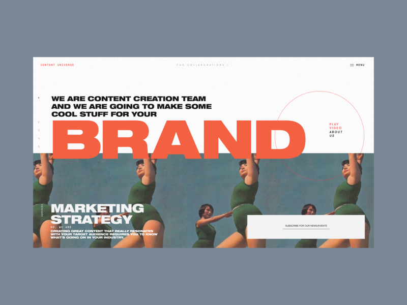 Content Universe Promo Page Alternative Version hero slider homepage typeface strategy maketing content creation content brand photo typography promo design concept website interface grid web ux ui
