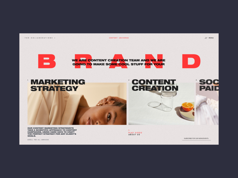 Content Universe Homepage All Services Page whitespace typography social content creation strategy marketing brand content services promo design concept website interface grid web ux ui