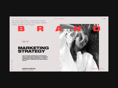Content Universe Homepage Branding Services Page strategy typography photo studio branding agency services advertising promption marketing branding promo design concept website interface grid web ux ui