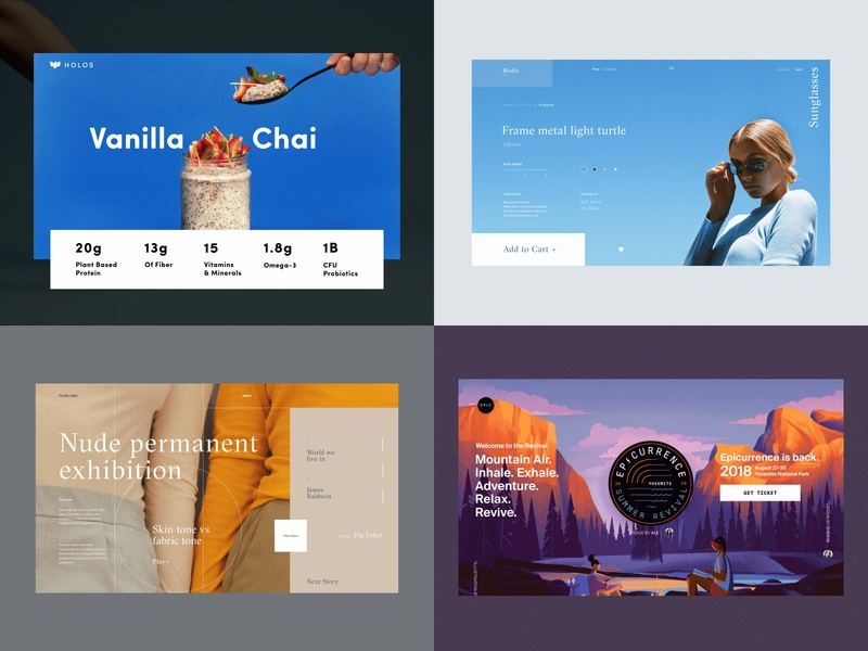 Top 4 shots from 2018 grid layout typography branding fashion landing model photography product epicurrence best top illustration design concept website interface grid web ux ui