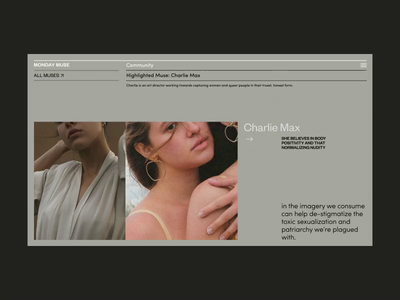 Monday Muse Inner Page Scroll scroll models art blog photo typography interaction motion fashion promo anim design concept website grid interface animation web ux ui