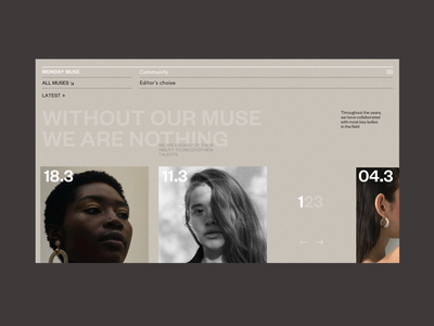 All Muses Grid slider promotion fashion menu muse model photo typography promo design concept website grid interface web ux ui