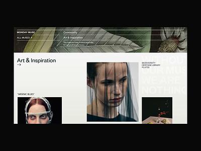 Monday Art & Inspiration Page Scroll Animation illustration models fashion photo inspiration art typography interaction motion promo anim design concept website grid interface animation web ux ui